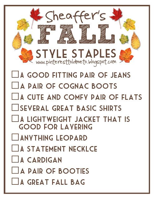 FALL STYLE STAPLES Checklist! And a GIVEAWAY!