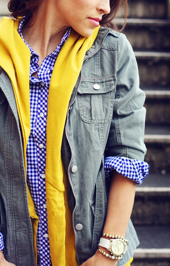 Sheaffer Told Me To Pinterest told me to wear Blue Gingham, Mustard, and a Military Jacket.....so I did.  :)