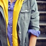 Pinterest told me to wear Blue Gingham, Mustard, and a Military Jacket…..so I did.  :)