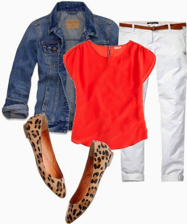 Sheaffer Told Me To Pinterest Told Me To Wear Orange, White, Denim, and Leopard.......Pinterest is So Dang Smart.