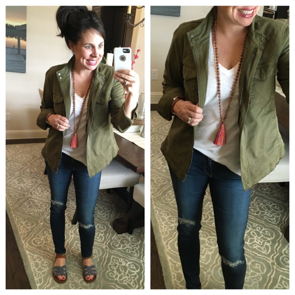 military jacket, white tee, tassel necklace, chambray sandals