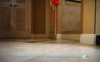 bachelor finale on bathroom floor