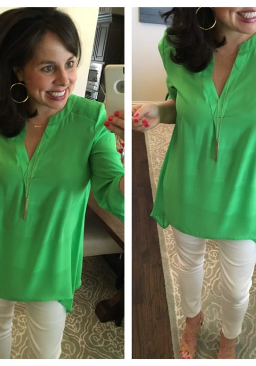 white jeans, green shirt, and gold jewelry