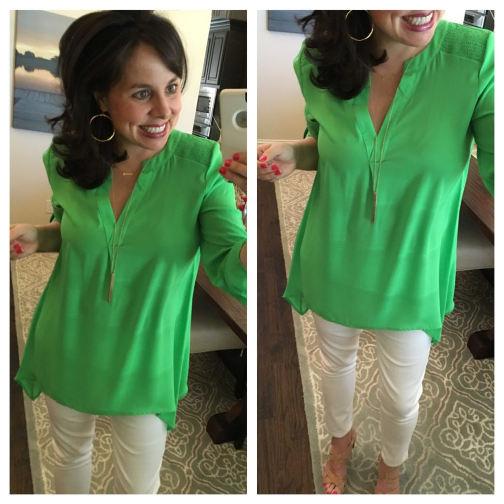 best white jeans and green blouse
