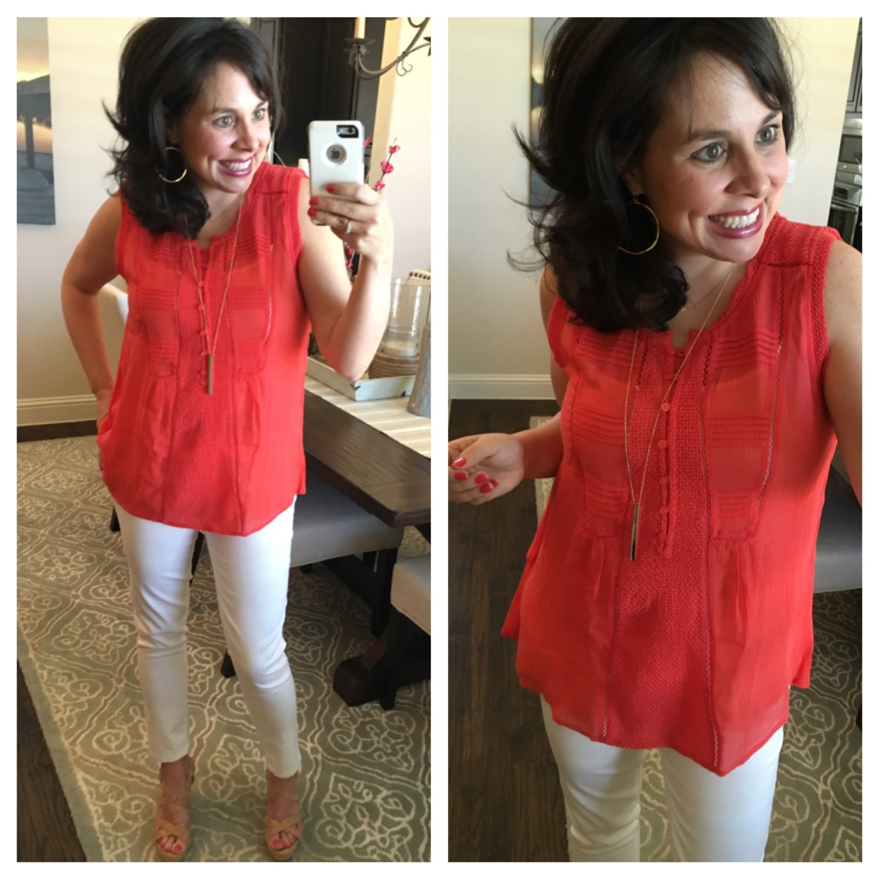 best white jeans and coral top