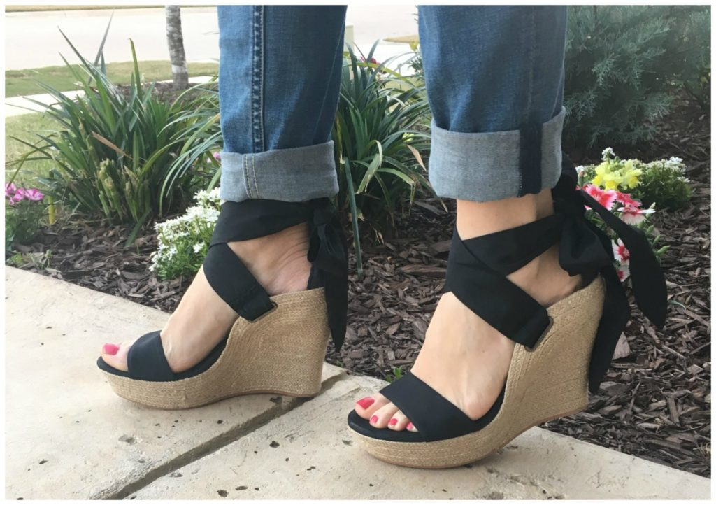 ugg black ribbon wedges