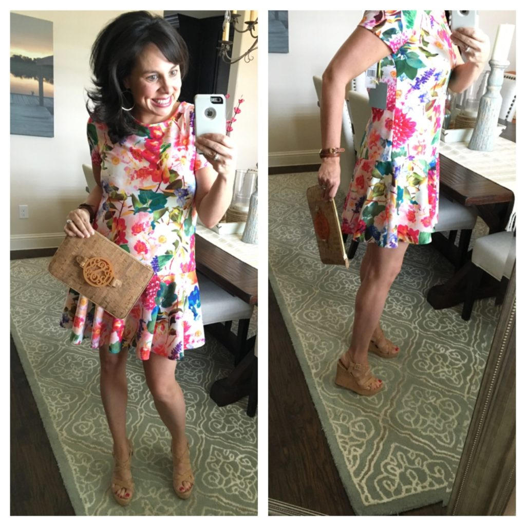floral peplum dress and cork clutch