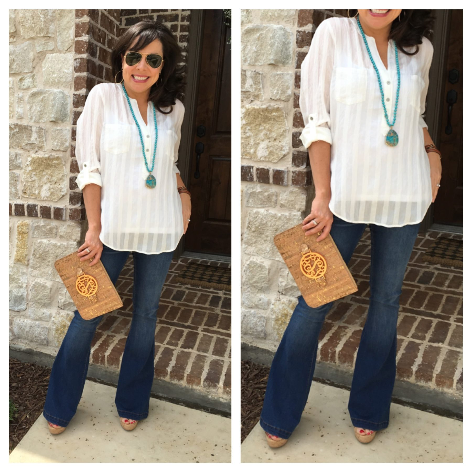 flare jeans and cork clutch