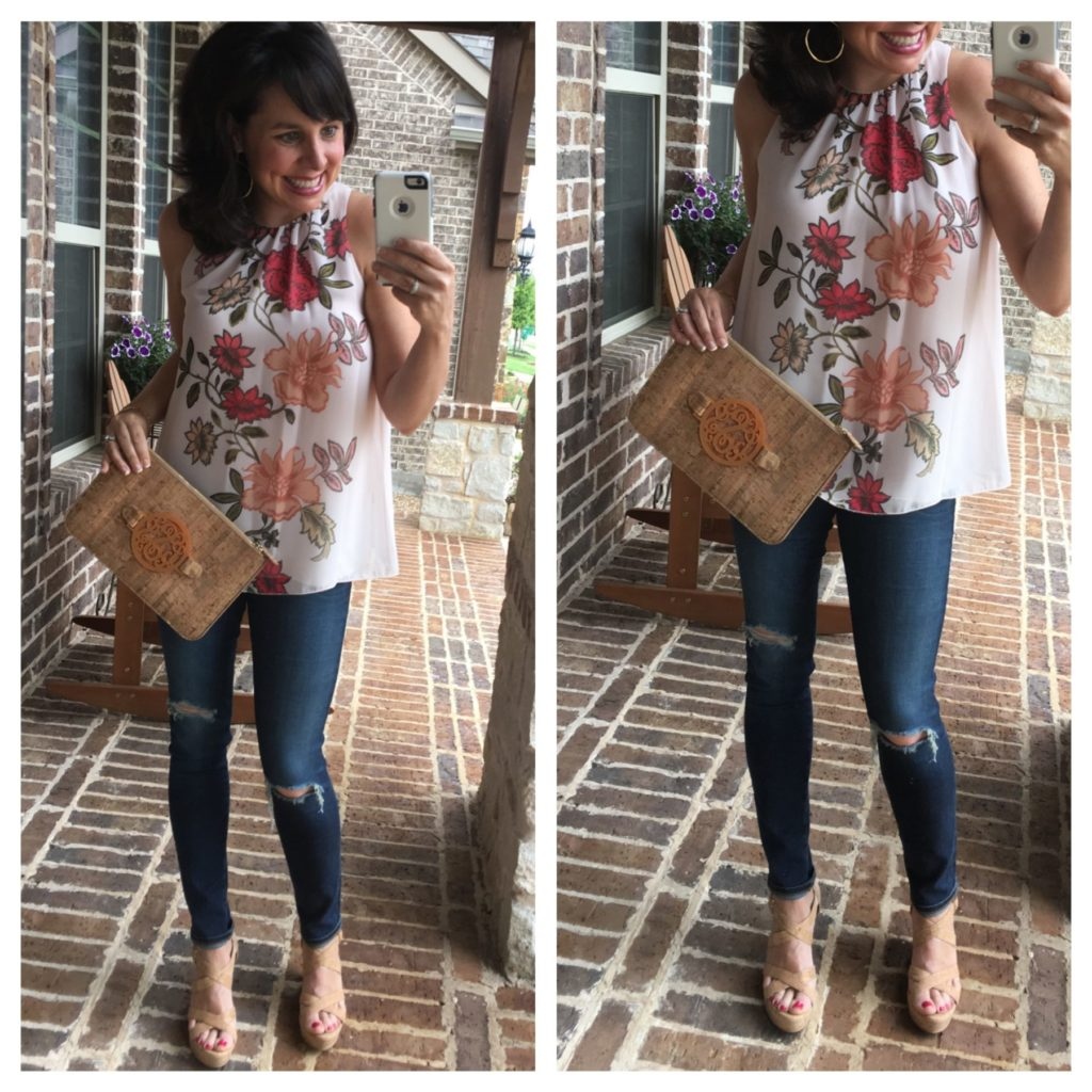 floral top and denim with cork clutch