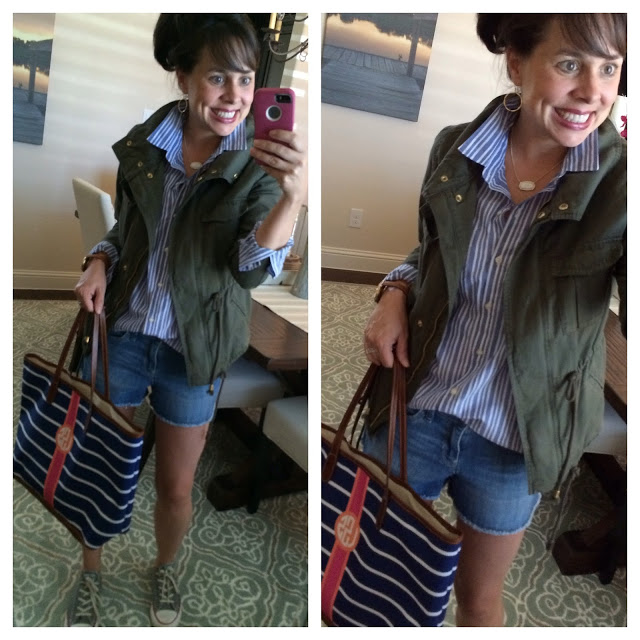 military jacket and denim cut offs