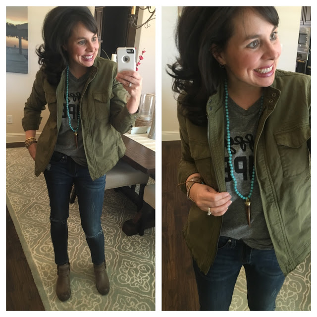 military jacket and tee