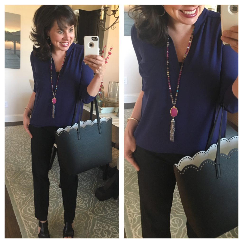 must have shirt, black pants, and agate necklace