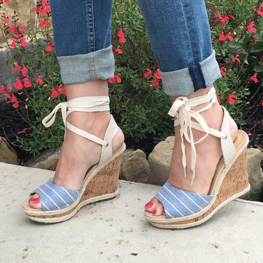 chambray stripe wedges