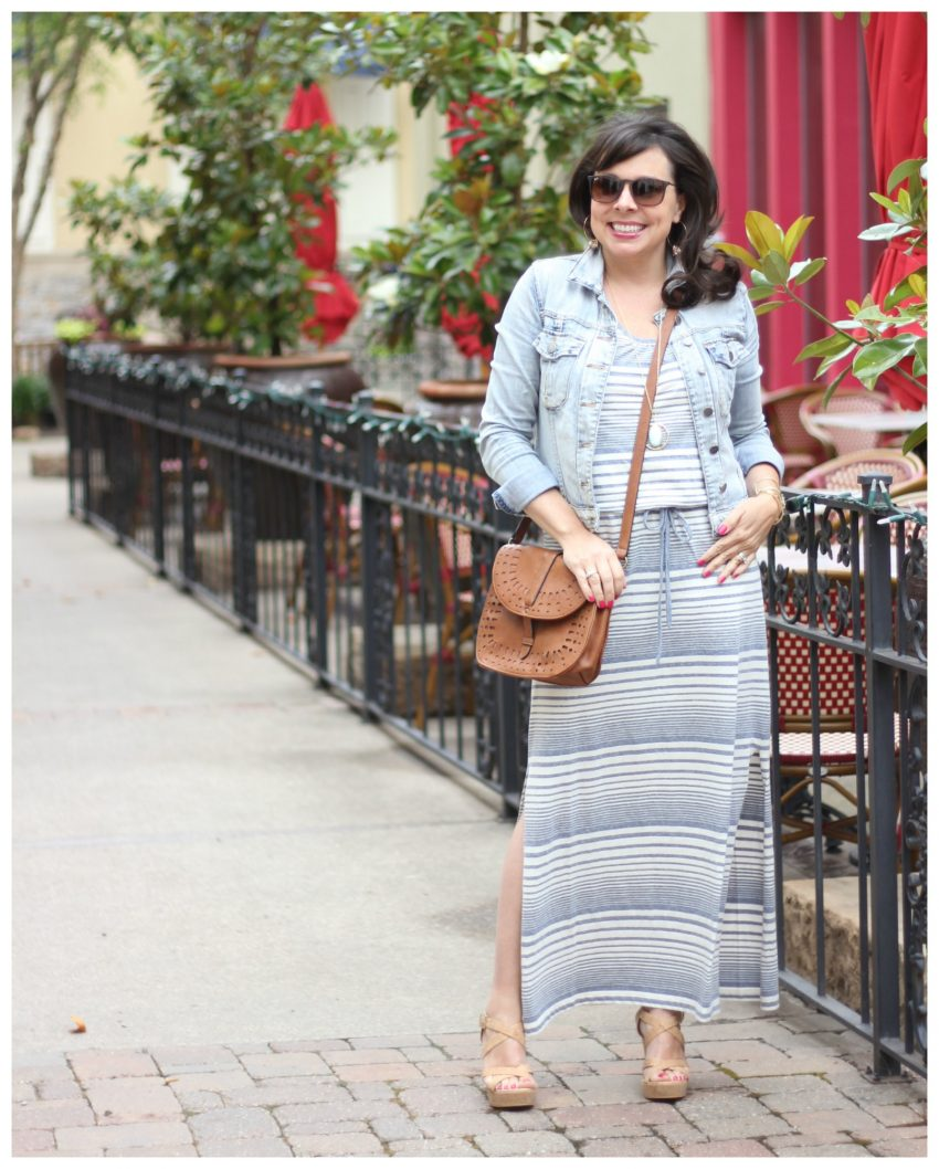 maxi dress and denim jacket 8