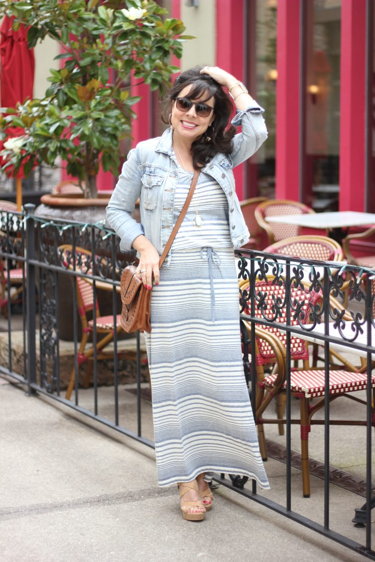 maxi dress and denim jacket