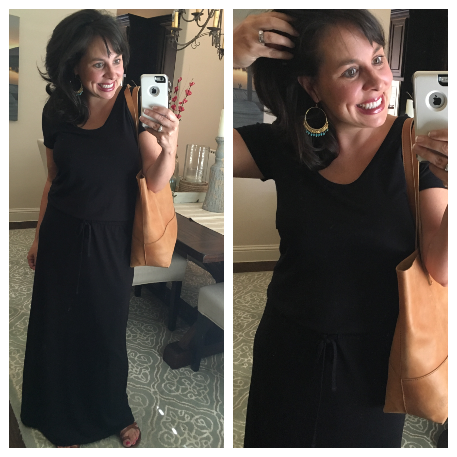 black maxi dress and turquoise earrings