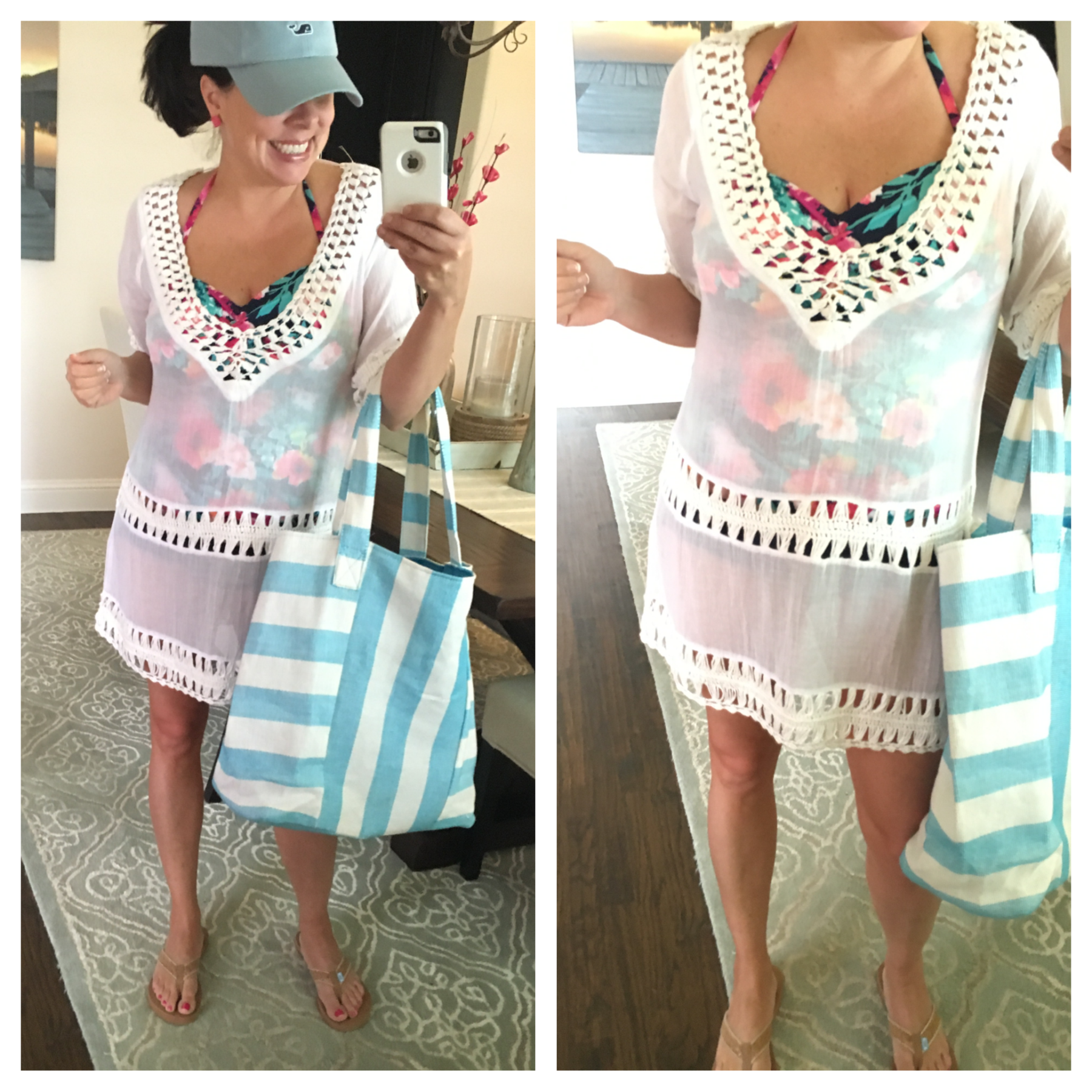 cover up and beach bag