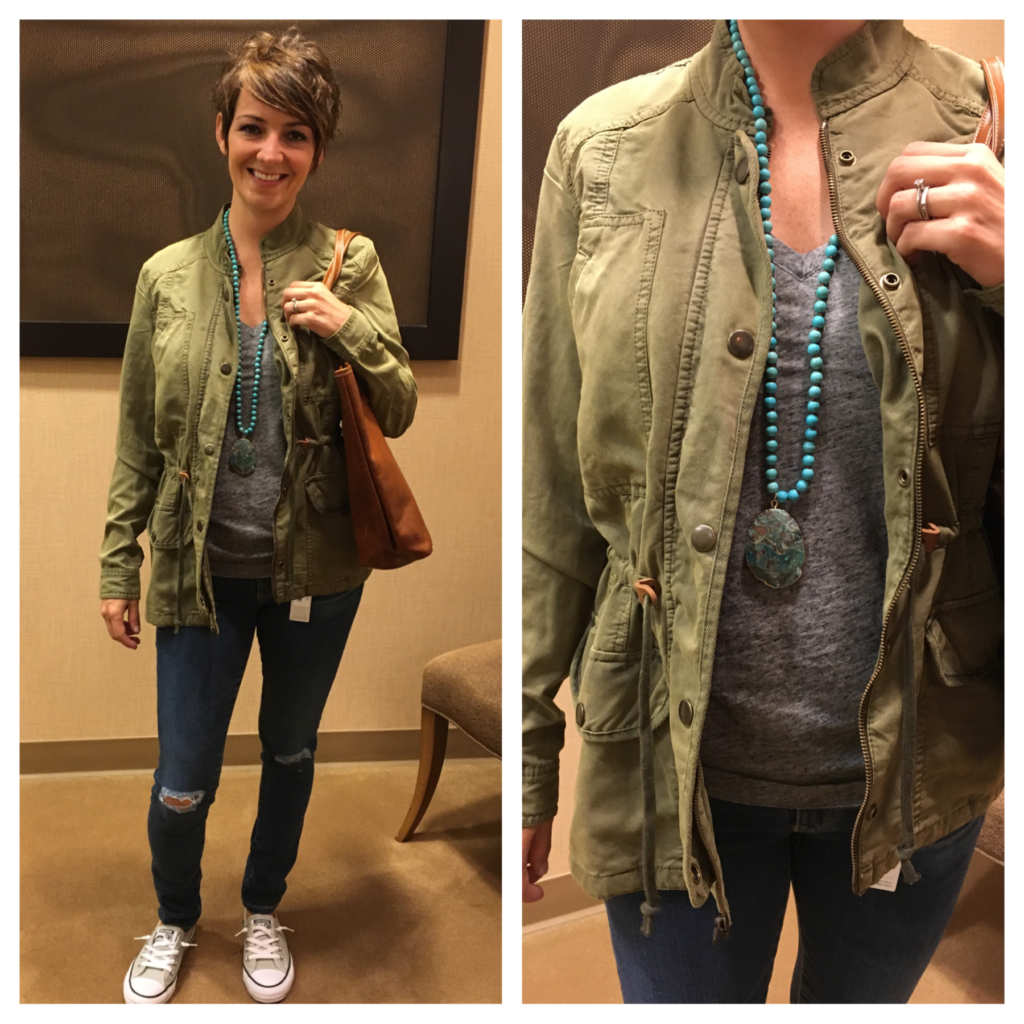 military jacket and jeans