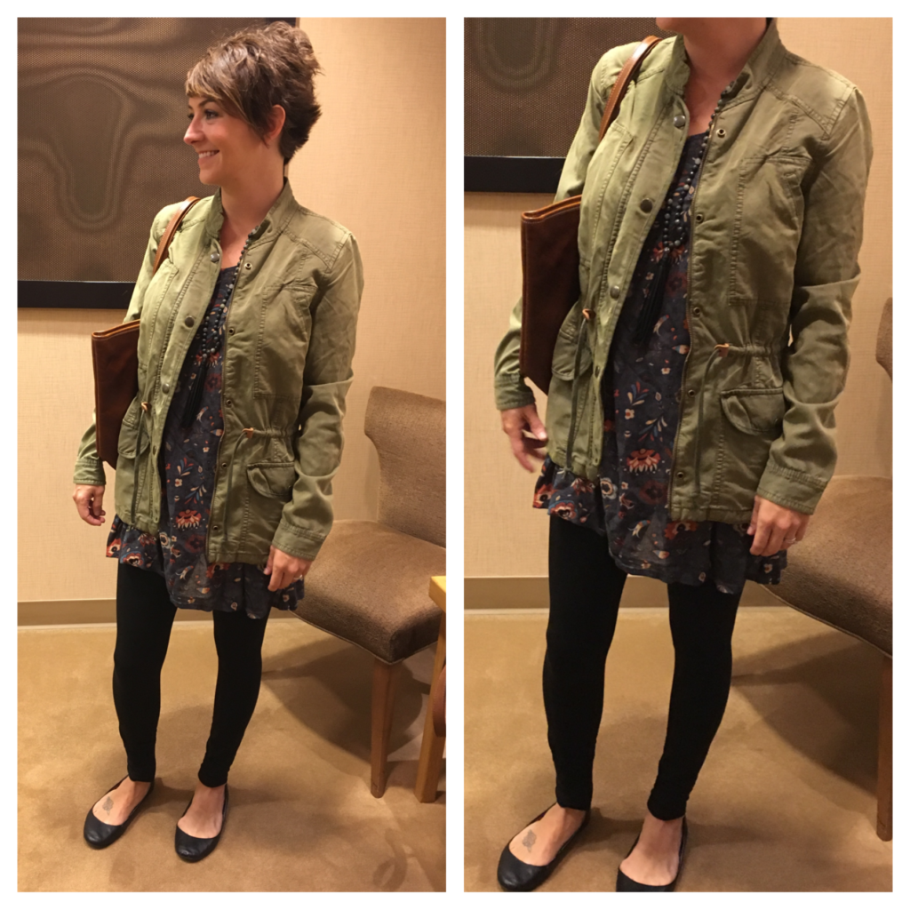 leggings and military jacket