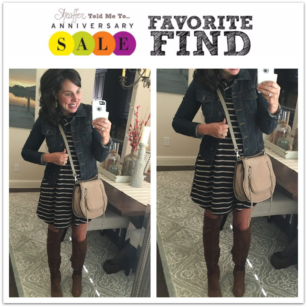 Nordstrom Anniversary Sale Striped Dress and over the knee boots