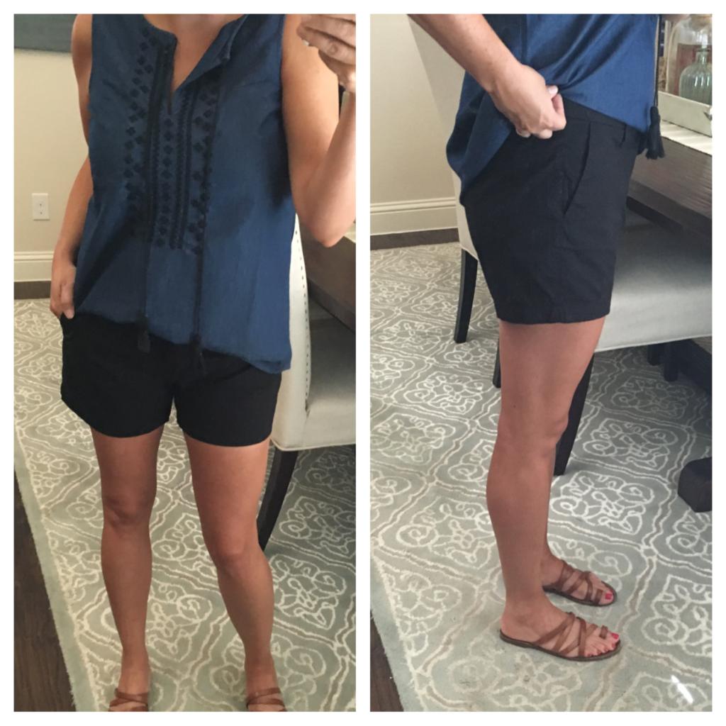 denim top and black shorts 2