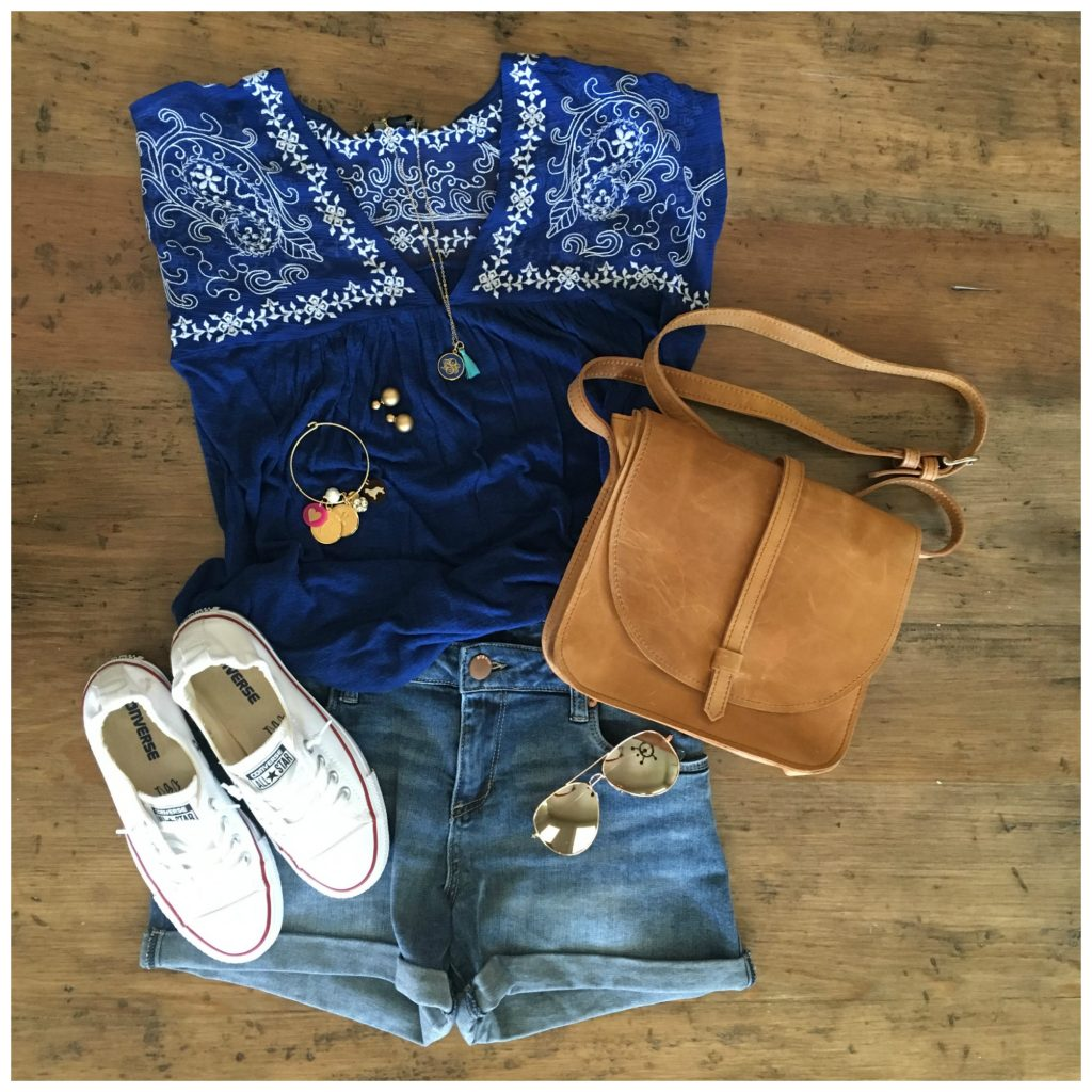embroidered top, jeans shorts, and converse