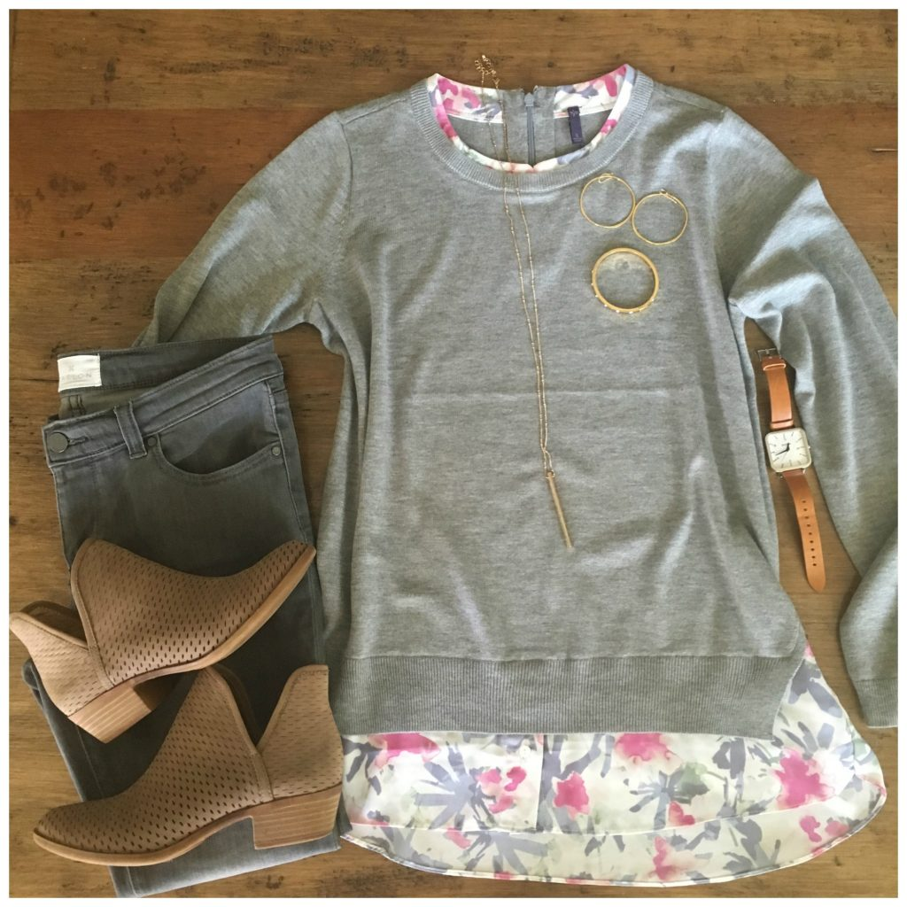 grey jeans with grey and pink sweater