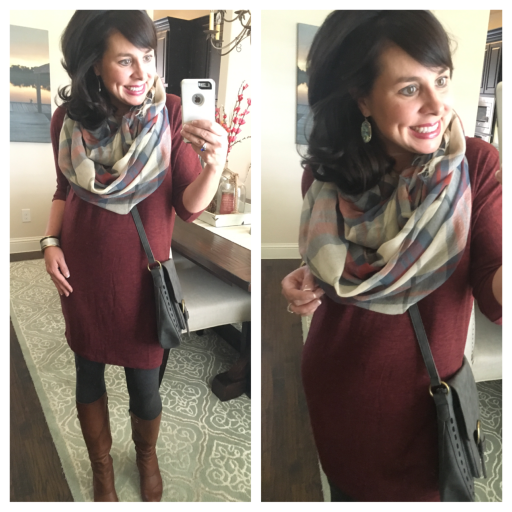 leggings, dress, and scarf