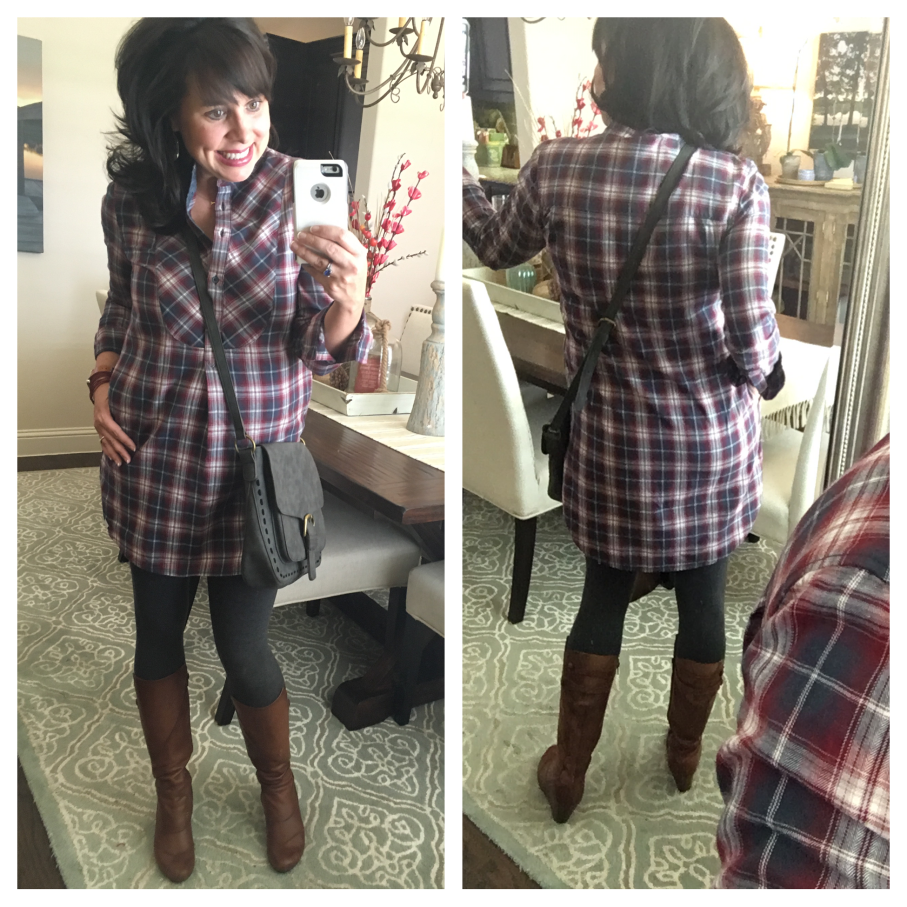 plaid dress with leggings and and scarf