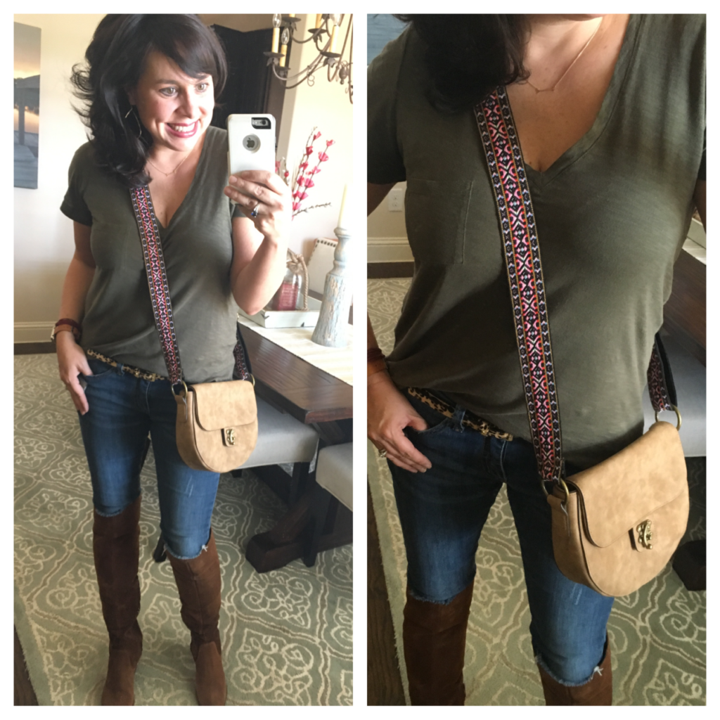 madewell tee and embroidered strap cross body