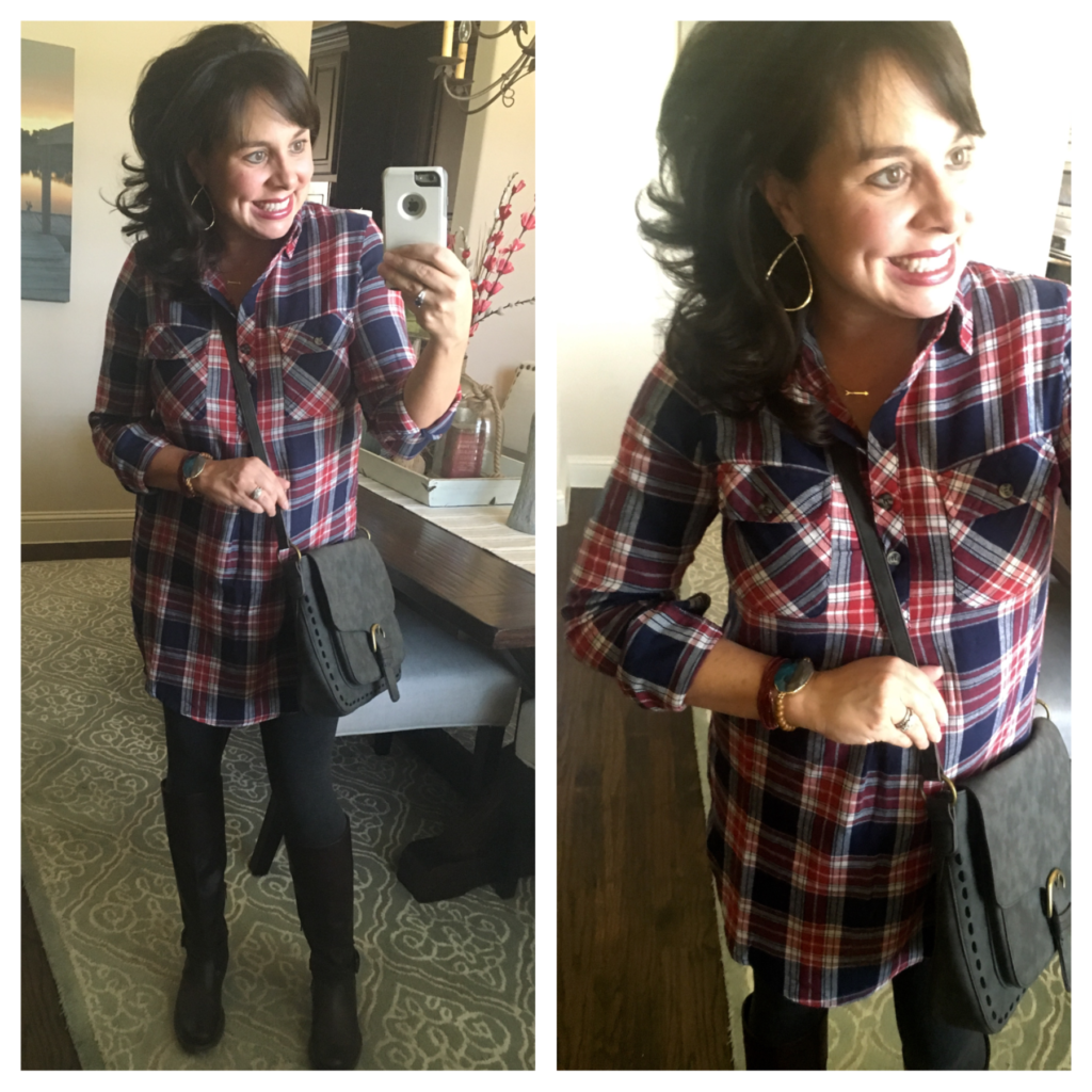 plaid shirtdress and leggings