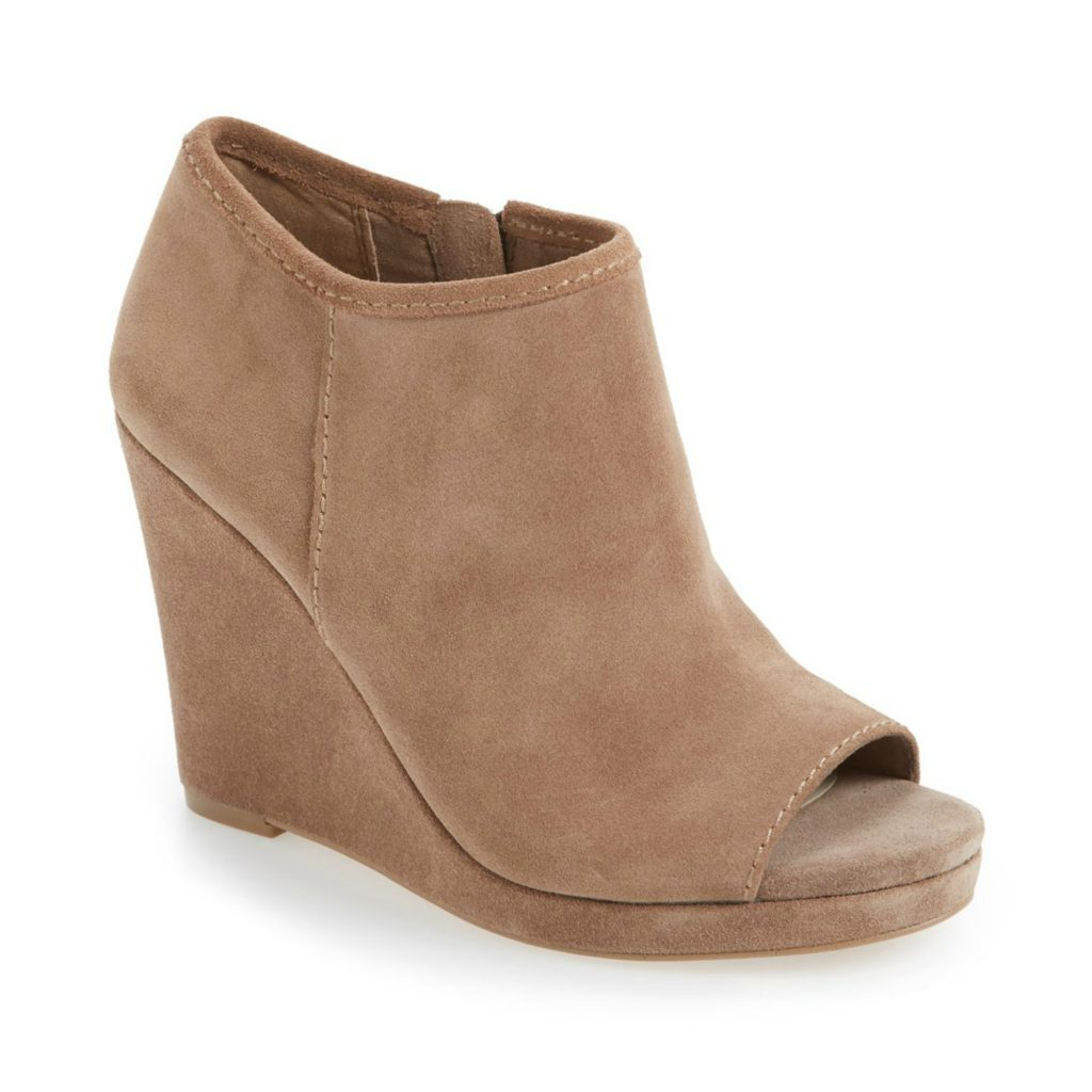 open toe suede wedge booties
