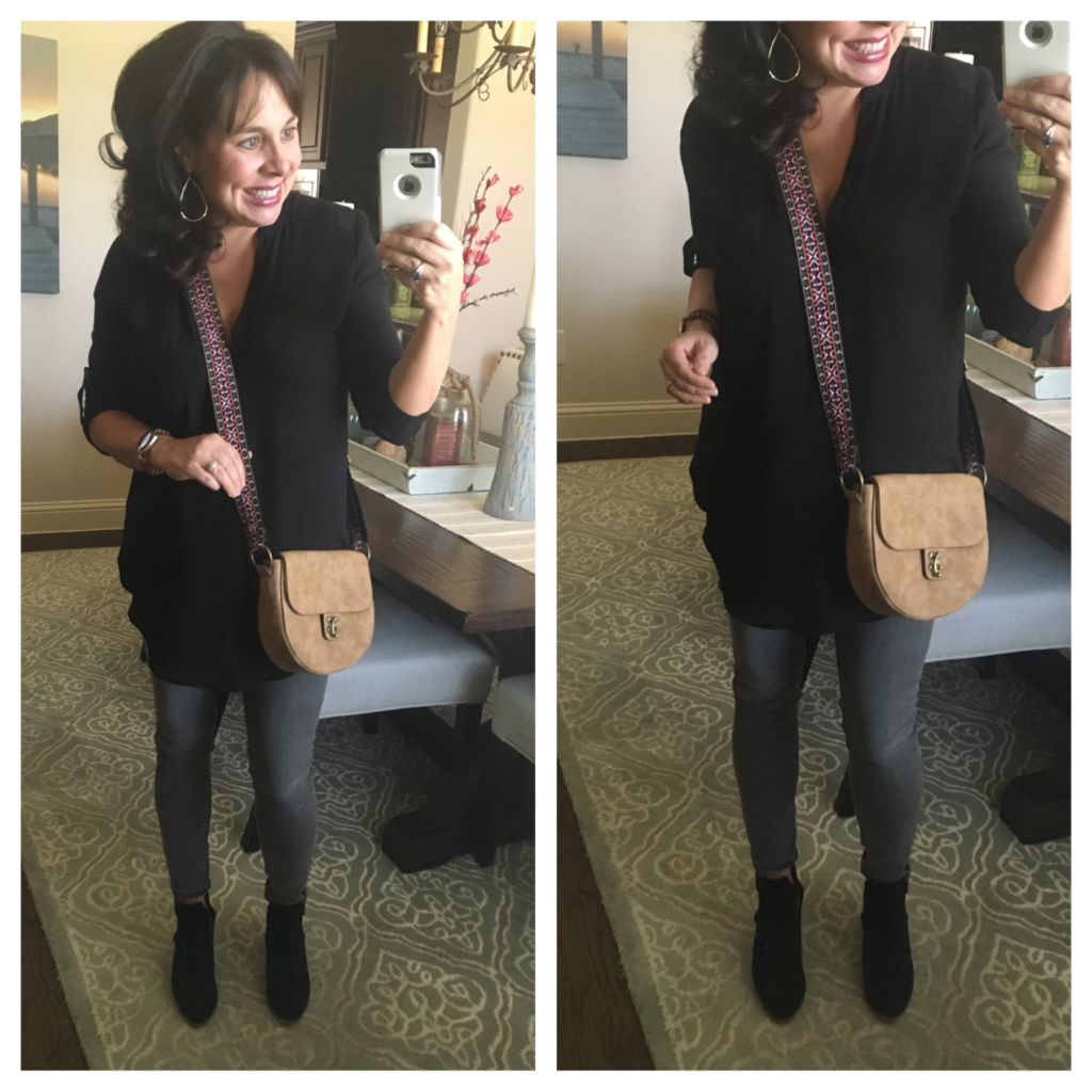grey ankle jeans and black tunic