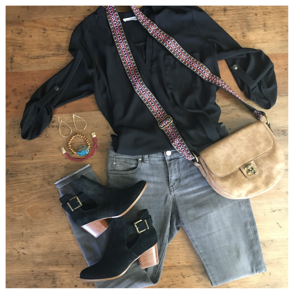 grey jeans and black tunic
