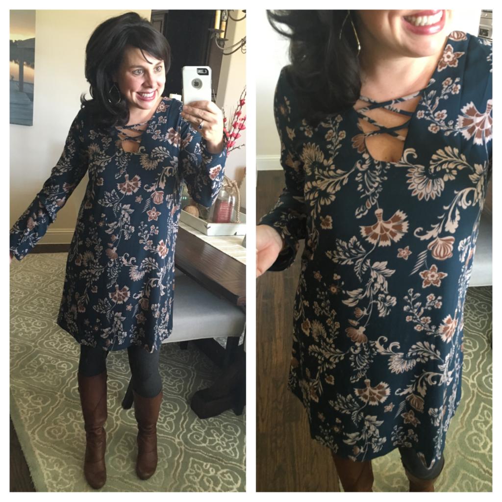 floral dress and leggings
