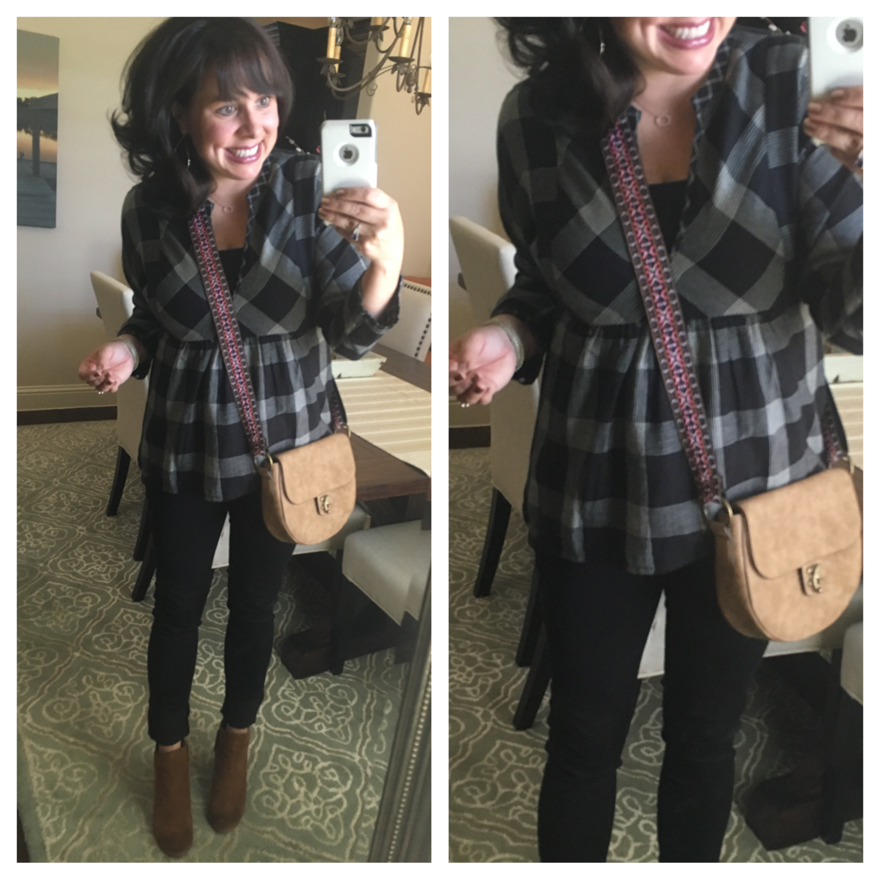 plaid top and black jeans