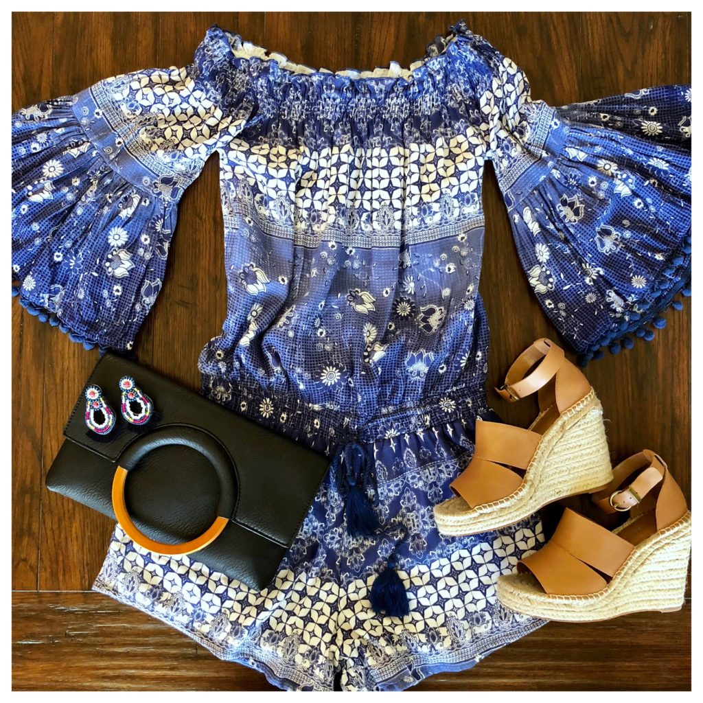 blue and white romper and wedges
