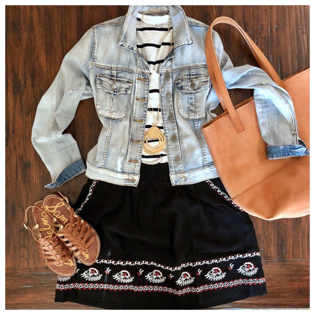 skirt, striped tee, and denim jacket