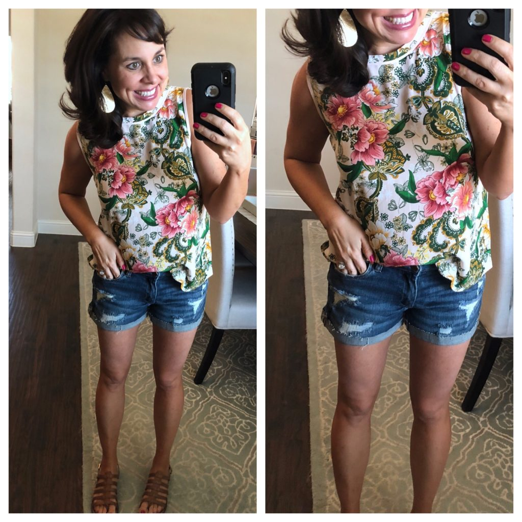 floral shell and denim shorts