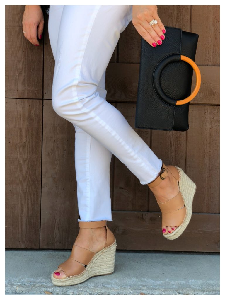 cognac wedges with white jeans