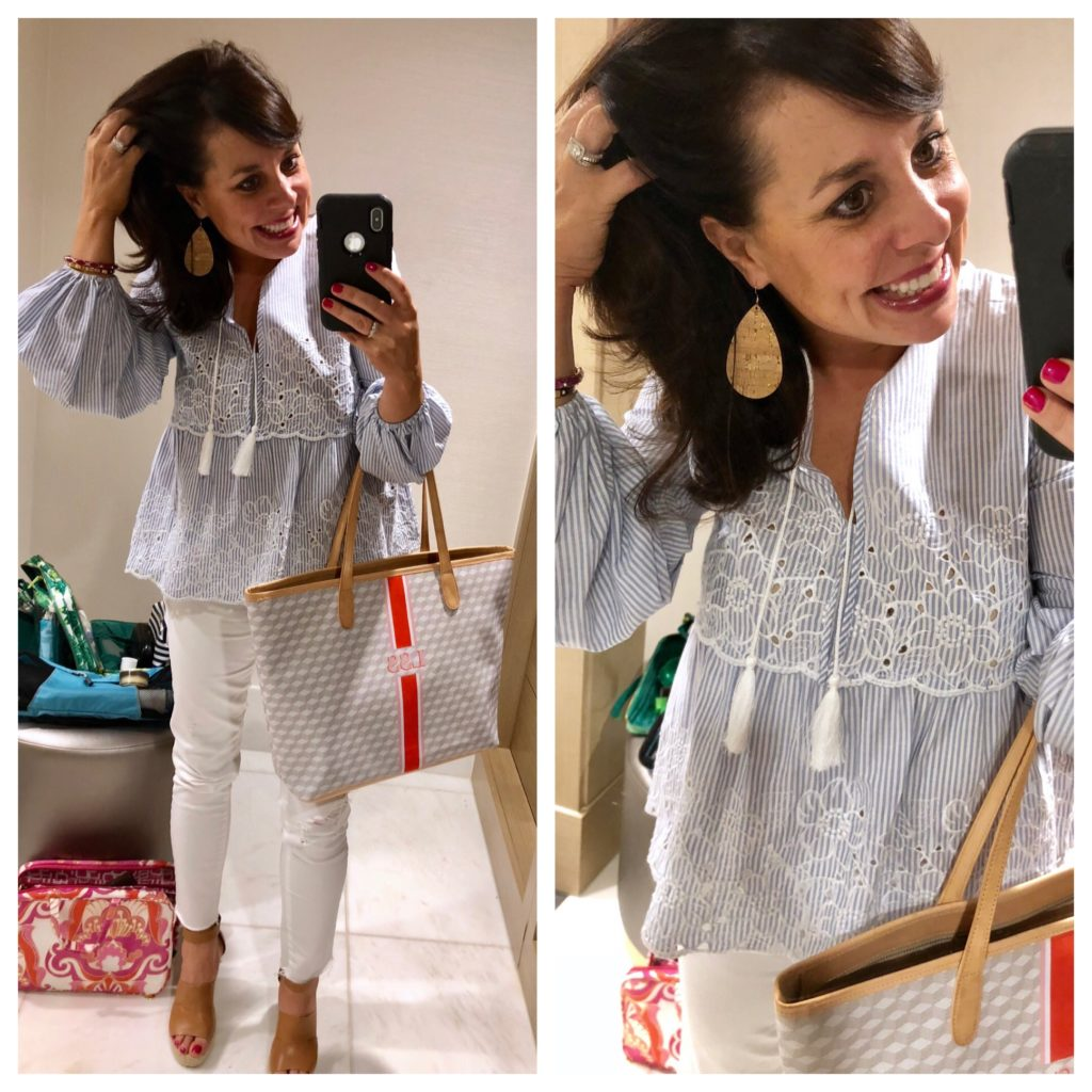 rewardStyle Conference white jeans outfit