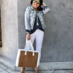 How to Wear White Jeans and Denim Jacket