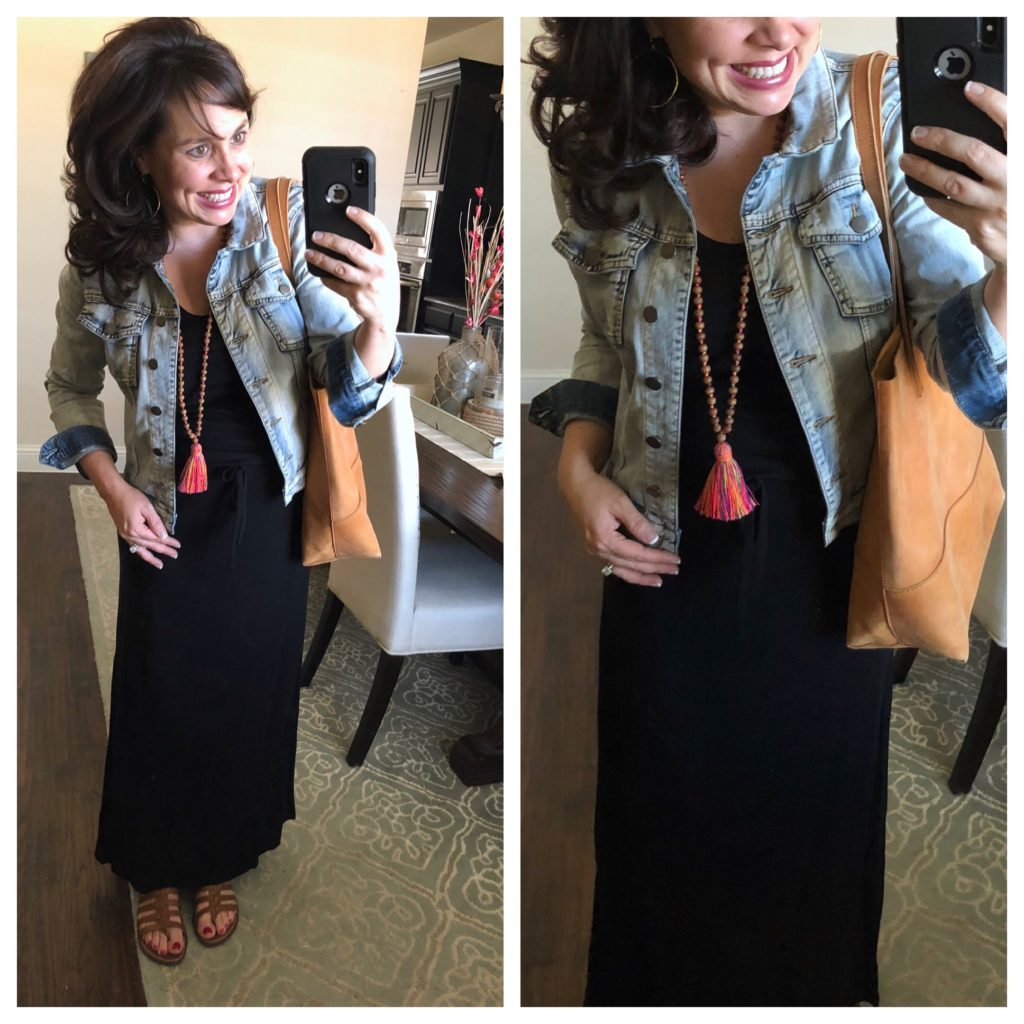 black maxi dress and denim jacket