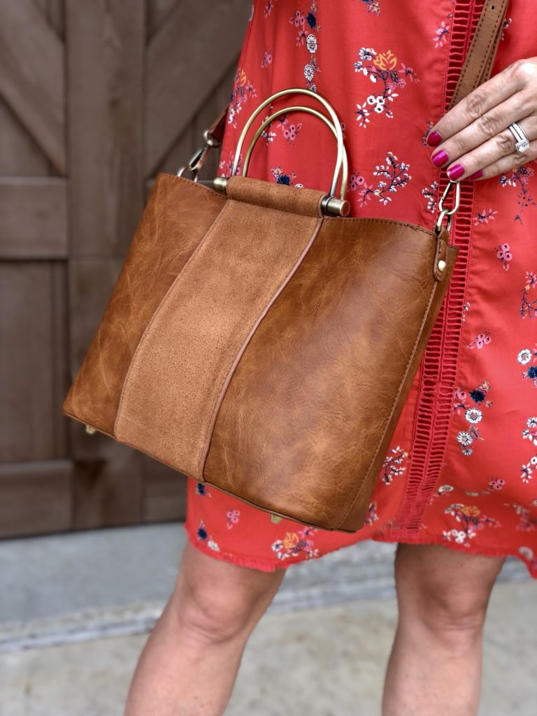 ModCloth cognac faux leather bag