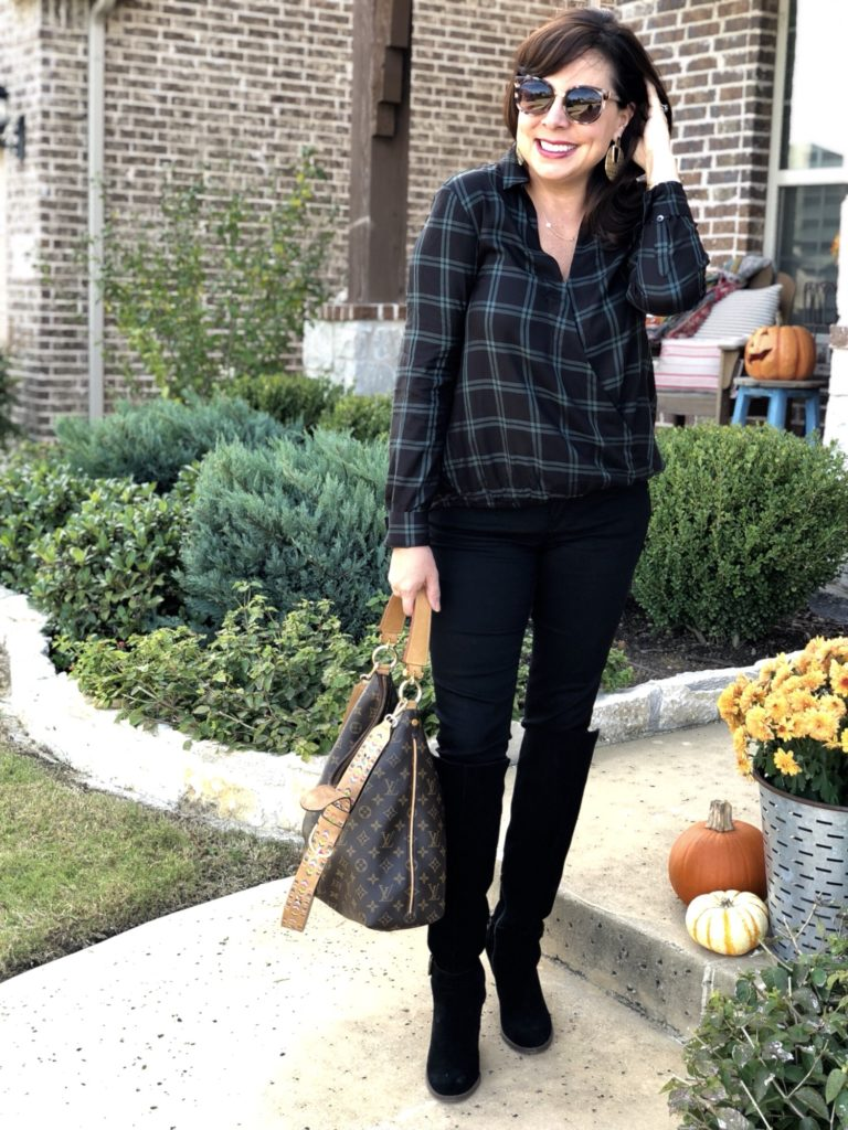 Madewell Plaid Faux Wrap Shirt and Black Wit & Wisdom Ab-solution Jeans