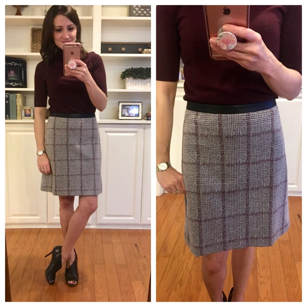Work Outfit: Faux Leather Trim Plaid A-line Skirt and Shirred Mock Neck Blouse